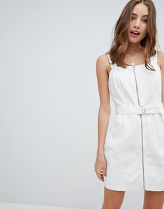 Read more about Miss selfridge pinafore dress with zip detail in white - white