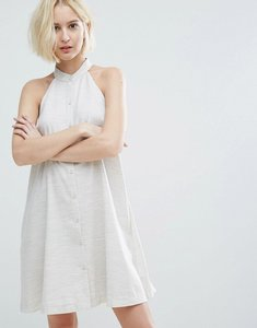 Read more about Native youth high neck swing dress with button front - oatmeal