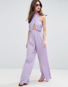 Read more about Asos jumpsuit with cross front and super wide leg - lilac