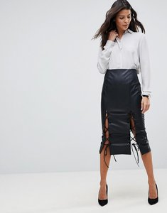 Read more about Asos leather look pencil skirt with lace hem detail - black