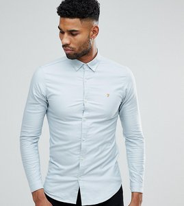 Read more about Farah tall skinny fit button down oxford shirt in light blue - light blue 468