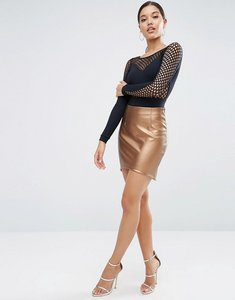 Read more about Asos metallic pu mini skirt with dip hem - bronze