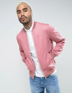 Read more about Asos cotton bomber jacket with sleeve zip in pink - pink