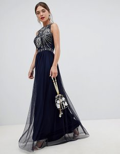 Read more about Frock frill sleeveless open back maxi dress with embellished detail - deep cobalt