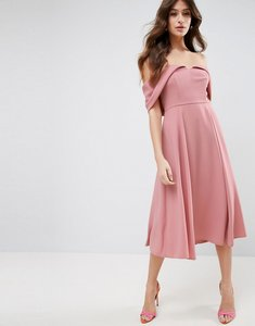 Read more about Asos bardot fold over midi prom dress - dusty pink