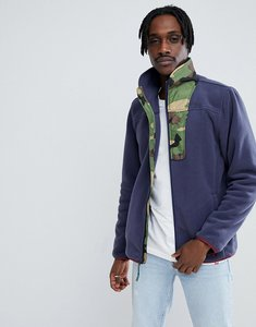 Read more about Herschel supply co full zip fleece sweat camo collar in navy - navy woodland camo