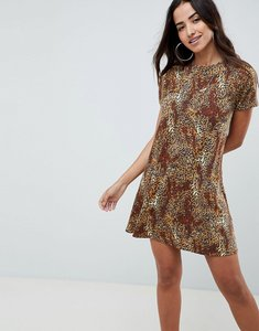 Read more about Asos design leopard print swing dress - leopard print