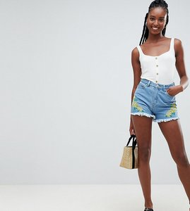 Read more about Influence tall floral embroidered denim shorts - denim