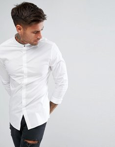 Read more about Asos skinny shirt with grandad collar and popper in white - white