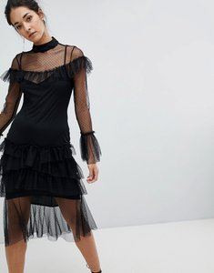 Read more about Hope ivy long sleeve mesh tier dress - black
