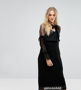 Read more about Tfnc tall high neck pleated lace midi dress with long sleeves and velvet strips - black