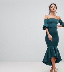 Read more about Asos tall premium bardot bodycon pephem midi dress - teal