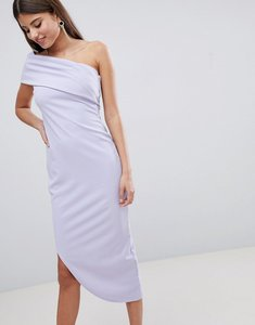 Read more about City goddess one shoulder aysmetric midi dress - blue