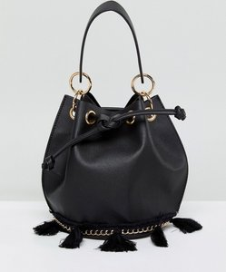 Read more about French connection bucket bag with tassel detail and hardware - black