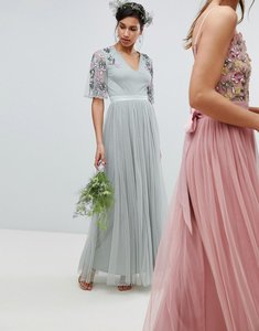 Read more about Maya embellished tulle sleeve maxi tulle dress in green - green lily