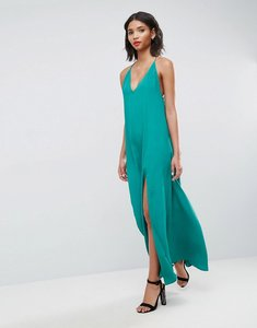 Read more about Asos deep plunge v back strappy maxi dress - green