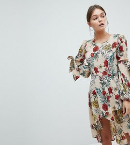 Read more about Prettylittlething floral midi dress - beige