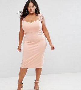Read more about Club l plus midi dress with lace insert - dusky pink