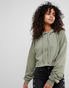 Read more about Monki cropped hoodie - khaki