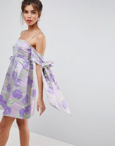 Read more about Asos salon jacquard bow tie cold shoulder empire mini dress - lilac