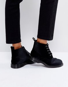 Read more about Truffle collection lace up velvet ankle boots - black velvet