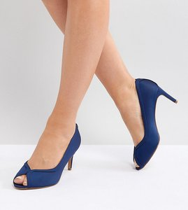 Read more about Asos summer wide fit mid heels - navy satin
