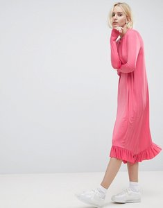 Read more about Asos ruffle drouser dress in slinky - pink