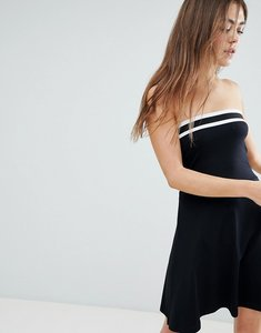 Read more about Asos design bandeau skater dress with sports stripe - black