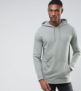 Read more about Asos tall longline hoodie in washed khaki - ball green