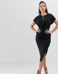 Read more about Asos design midi pencil dress with gathered peplum waist