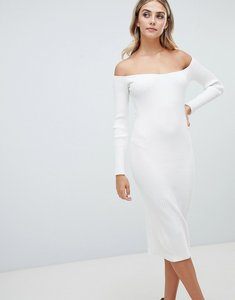 Read more about Missguided bardot ribbed midi dress - white