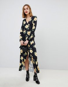 Read more about Asos maxi wrap dress in large bloom print - floral print