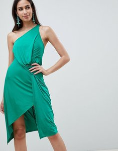 Read more about Asos design one shoulder slinky drape front midi dress - green