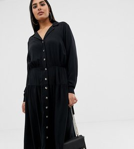 Read more about Asos design curve button through midi shirt dress with long sleeves