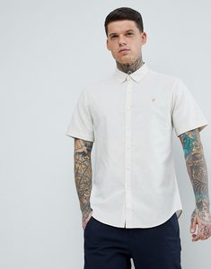 Read more about Farah steen slim fit short sleeve textured oxford shirt in stone - 112 pebble