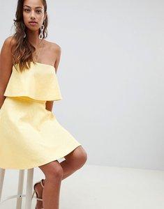 Read more about Asos design bonded lace mini skater dress - lemon