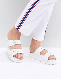 raid kendal buckle slide flat sandals white - Shop raid kendal