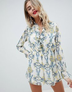 Read more about Asos design playsuit in crinkle chiffon and floral print - beige blue floral