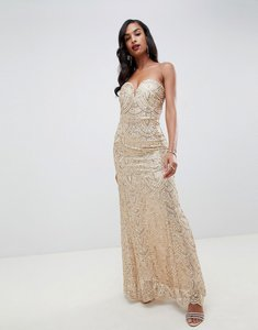 Read more about Tfnc patterned sequin bandeau maxi dress in gold