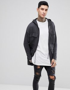 Read more about Asos knitted parka in charcoal - charcoal