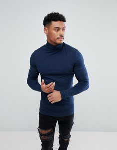 Read more about Asos muscle fit long sleeve t-shirt with roll neck in navy - navy