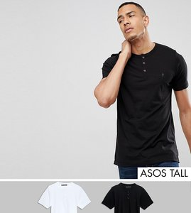 Read more about French connection tall 2 pack henley t-shirt - white