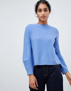 Read more about Oasis bell sleeve compact knitted jumper in light blue - blue
