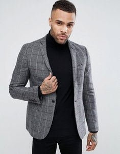 Read more about Asos skinny blazer in grey burgundy wool mix check - grey