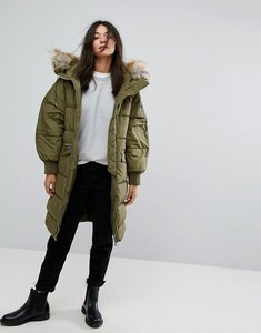 Read more about Pull bear long line padded jacket with faux fur hood - khaki