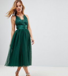 Read more about Asos petite premium lace top tulle midi prom dress with ribbon ties - green