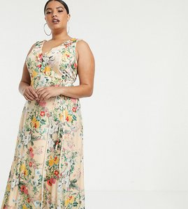 Read more about Asos design curve ruffle wrap maxi dress with tie detail in floral print