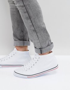 Read more about Asos mid top plimsolls in white canvas - white
