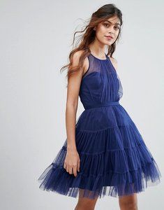 Read more about Little mistress tulle mini dress in tiers - navy