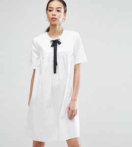 Read more about Asos tall smock dress with eyelet detail and grosgrain tie - white